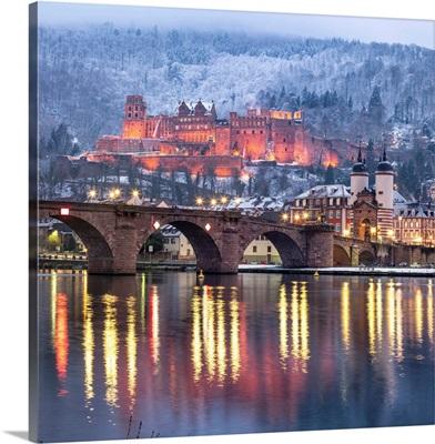 Heidelberg Castle And Old Bridge Illuminated In Winter, Baden-Wurttemberg, Germany