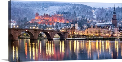 Heidelberg Castle With The Old Bridge And Church Along The Neckar River, Germany