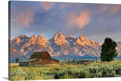 Historic Barn on Mormon Row and Teton Mountain Range, Wyoming