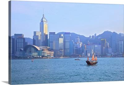 Hong Kong Harbour With Red Sailed Junk, Hong Kong