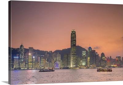 Hong Kong Skyline, Skyscrapers On Hong Kong Island Seen At Sunset, China