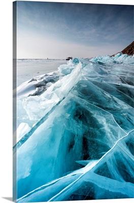 Ice Crack At Lake Baikal, Irkutsk Region, Siberia, Russia
