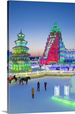 Ice sculptures at the Harbin Ice and Snow Festival in Heilongjiang Province,  China