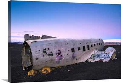 Iceland, The crashed DC-3 plane on the black sand Solheimasandur beach
