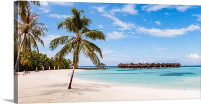 Idyllic Beach And Bungalows In The Maldives
