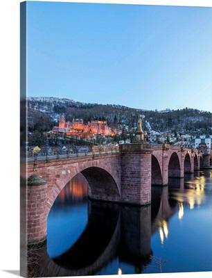 Illuminated Heidelberg Castle And Alte Brucke (Old Bridge) In Winter At Night, Germany