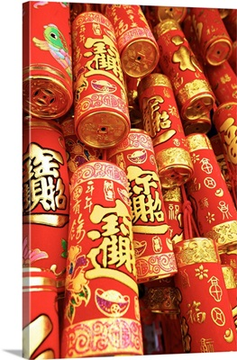 Imitation Fire Crackers Used As Chinese New Year Decorations, Hong Kong