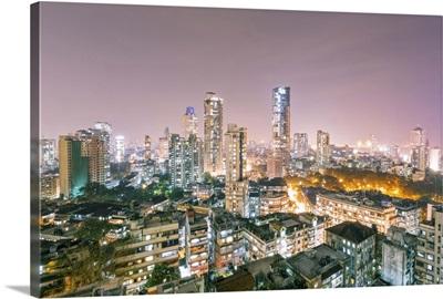 India, Maharashtra, Mumbai, view of the city of Mumbai city centre at night