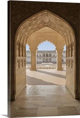 India, Uttar Pradesh, Agra, Agra Fort, view of the Anguri Bagh gardens