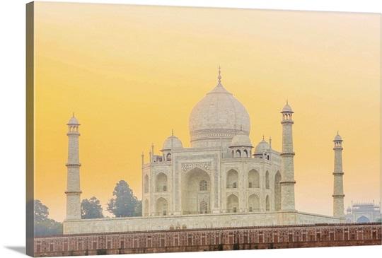 India, Uttar Pradesh, Agra, Taj Mahal in golden dawn light Wall Art ...