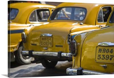 India, West Bengal, Kolkata, Calcutta, Yellow ambassador taxis