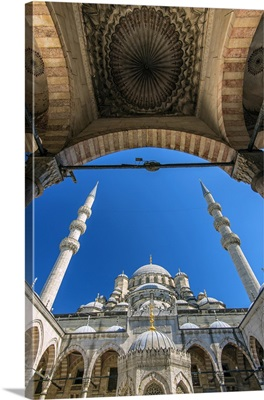 Inner courtyard low angle view of Yeni Cami or New Mosque, Istanbul, Turkey