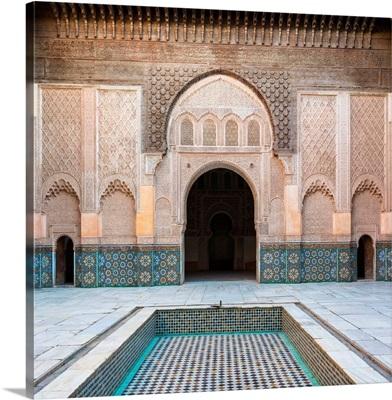Interior courtyard of Ben Youssef Madrasa, 16th century Islamic college