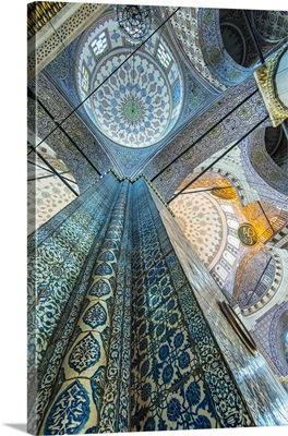 Interior low angle view of Yeni Cami or New Mosque, Istanbul, Turkey