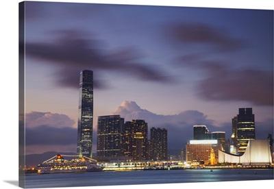 International Commerce Center and Tsim Sha Tsui at dusk, Kowloon, Hong Kong, China