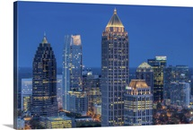 Interstate 85 passing the Atlanta skyline, Atlanta, Georgia, United States of America