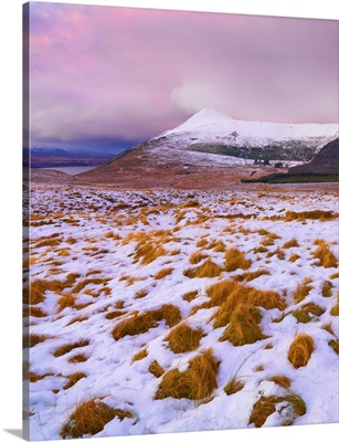 Ireland, County Donegal, Derryveagh mountains, Muckish in snow