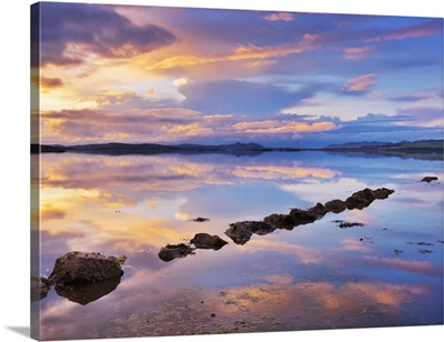 Ireland, County Donegal, Mulroy bay, Stepping stones at dusk