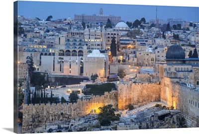 Israel, Jerusalem, View of Old Town, looking towards the Jewish Quarter
