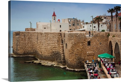 Israel, North Coast, Akko-Acre, ancient city, waterfront cafe in city walls