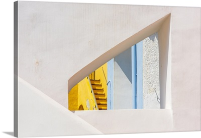 Italy, Campania, Detail Of The Facades In The Characteristic Little Harbour Of Procida