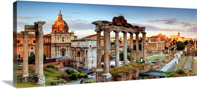 Italy, Rome, Colosseum and Roman Forum at sunset