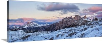 Italy, Trentino Alto Adige, panoramic of Dolomiti di Sesto Natural Park at sunrise