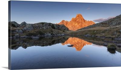 Italy, Trentino, Rolle pass, Cimon della Pala reflected in the lakes of Cavallazza