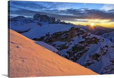 Italy, Veneto, Sunrise on the Croda di Toni Group