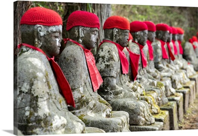 Japan, Honshu, Kanto, Tochigi, Nikko, Kanman-Ga-Fuchi, Jizo Statues On The Trail
