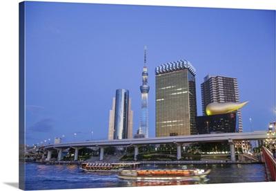 Japan, Honshu, Tokyo, Office Buildings and Skytree Tower and Sumidagawa River