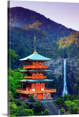 Japan, Kumano Kodo Pilgrimage Trail, Nachi Taisha Pagoda and Waterfall
