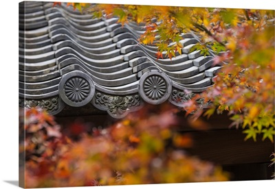 Japan, Kyoto, Higashiyama district, Sho-ren-in Temple, Roof top and Autumn foliage