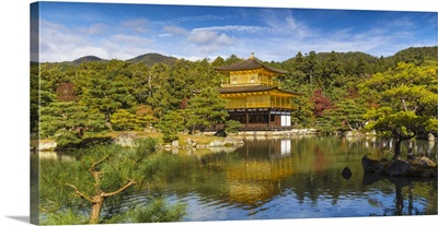 Japan, Kyoto, Kinkaku-ji, -The Golden Pavilion officially named Rokuon-ji