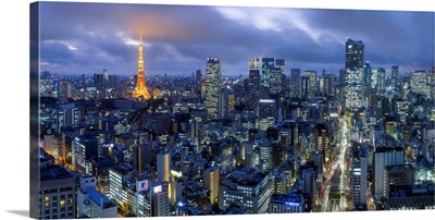 Japan, Tokyo, elevated night view of the city skyline and iconic illuminated Tokyo Tower