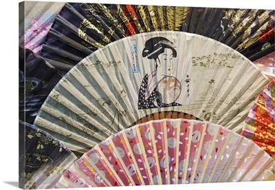 Japan, Tokyo, Nakamise Shopping Street, Detail of Fans