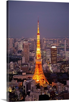 Japan, Tokyo, View of Tokyo Tower and City Skyline from Tokyo City View Tower