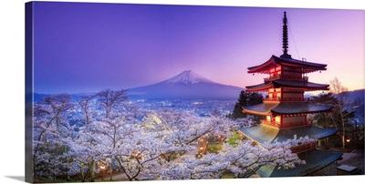 Japan, Yamanashi Prefecture, Fuji-Yoshida, Chureito Pagoda, Mt Fuji and Cherry Blossoms