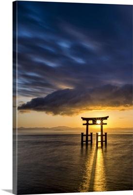 Japanese Torii Gate At Sunrise, Lake Biwa, Takashima, Shiga Prefecture, Japan