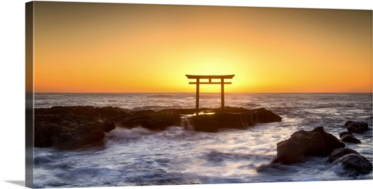 Japanese torii gate at the coast, Ibaraki, Oarai, Japan Wall Art ...