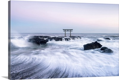 Japanese torii gate at the coast, Ibaraki, Oarai, Japan