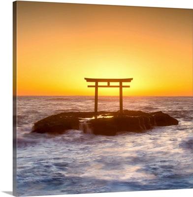 Japanese torii gate at the coast, Ibaraki Prefecture, Oarai, Japan