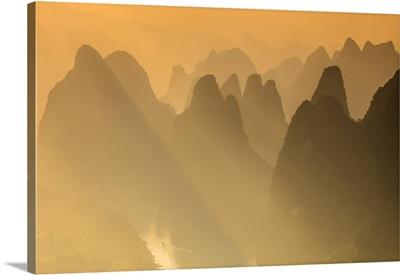 Karst Limestone Peaks Of Yangshou And The Li River, Guangxi-Yangshuo, China