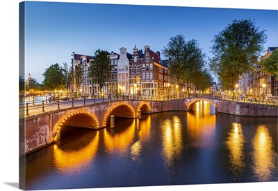 Keizersgracht Canal At Dusk, Amsterdam, North Holland, Netherlands