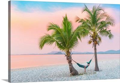 Ko Muk (Ko Mook), Trang Province, Thailand. Woman Tourist Lying On Hammock (MR).