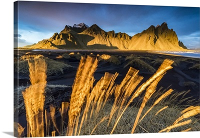 Landscape at sunset, Stokksnes, Eastern Iceland