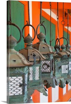 Lanterns at Kasuga Taisha Shrine at dusk, Nara, Kansai, Japan