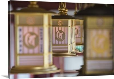 Lanterns at Shitenno-ji temple, Tennoji, Osaka, Kansai, Japan