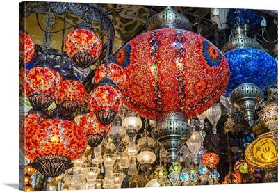 Lanterns hanging in a shop inside the Grand Bazaar, Istanbul, Turkey