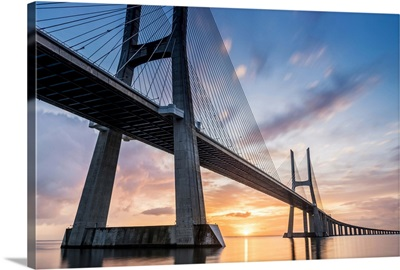 Lisbon, Portugal, Vasco Da Gama bridge at sunrise